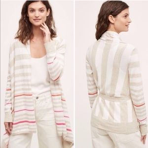 Anthropologie Moth Striped Front Tie Wrap Cardigan